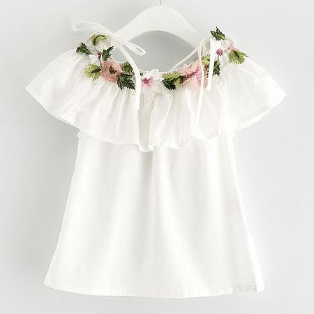 Flower Decorated Off Shoulder Ruffle Trim Dress