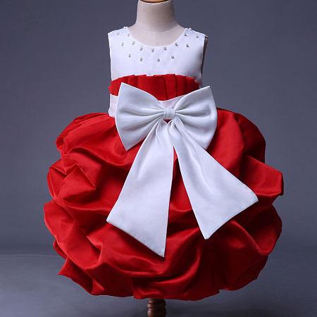 Big Bowknot Beads Decorated Color Block Princess Dress