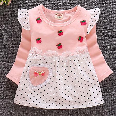 Flower Cherry Decorated Polka Dots Dress
