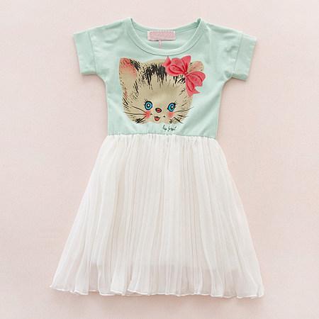 Cat Pattern Girls Summer Dress