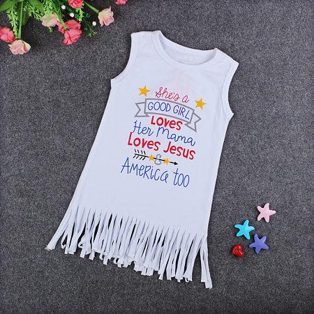 Fashion Girls Letter Print Tassels Dress