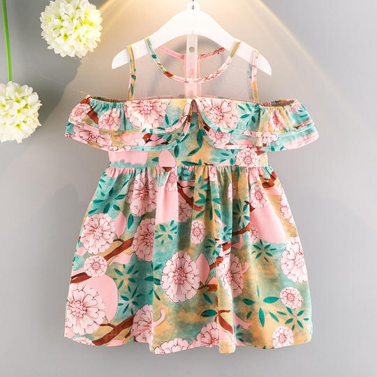 Girls Floral Print Flouncing Dress