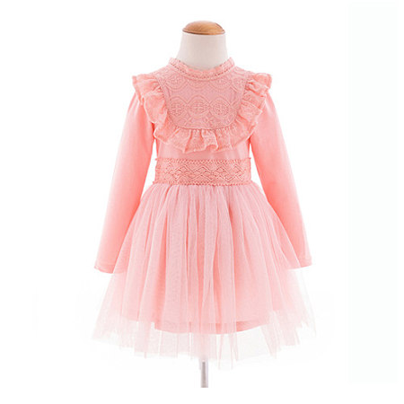 Sweet Girls Long Sleeve Tulle Dress, pink, DM17082125