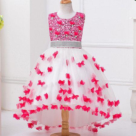 Beads Butterfly Decorated Asymmetrical Hems Princess Dress