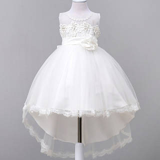Flower Decorated Sleeveless Asymmetrical Princess Dress