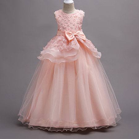Flowers Applique Bowknot Decorated Floor-Length Princess Dress