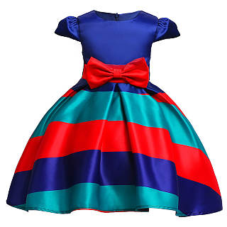 Bowknot Decorated Stripes Princess Dress