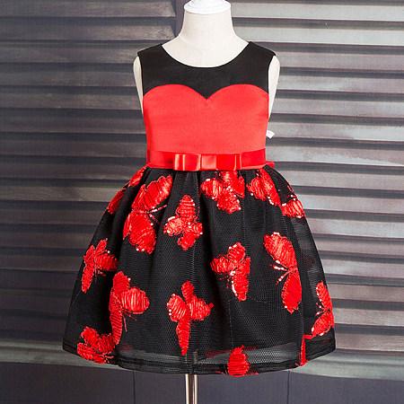 Butterfly Pattern Sleeveless Princess Dress
