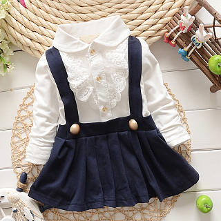 Doll Collar Lace Decorated Fake Two Pieces Dress