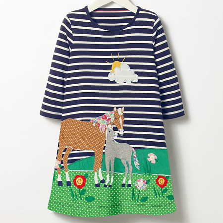Cartoon Animals Pattern Stripes Dress
