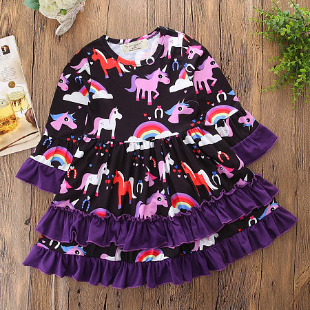 Cartoon Animals Pattern Long Sleeve Dress