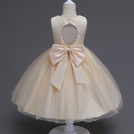 Backless Bowknot Decorated Tulle Princess Dress