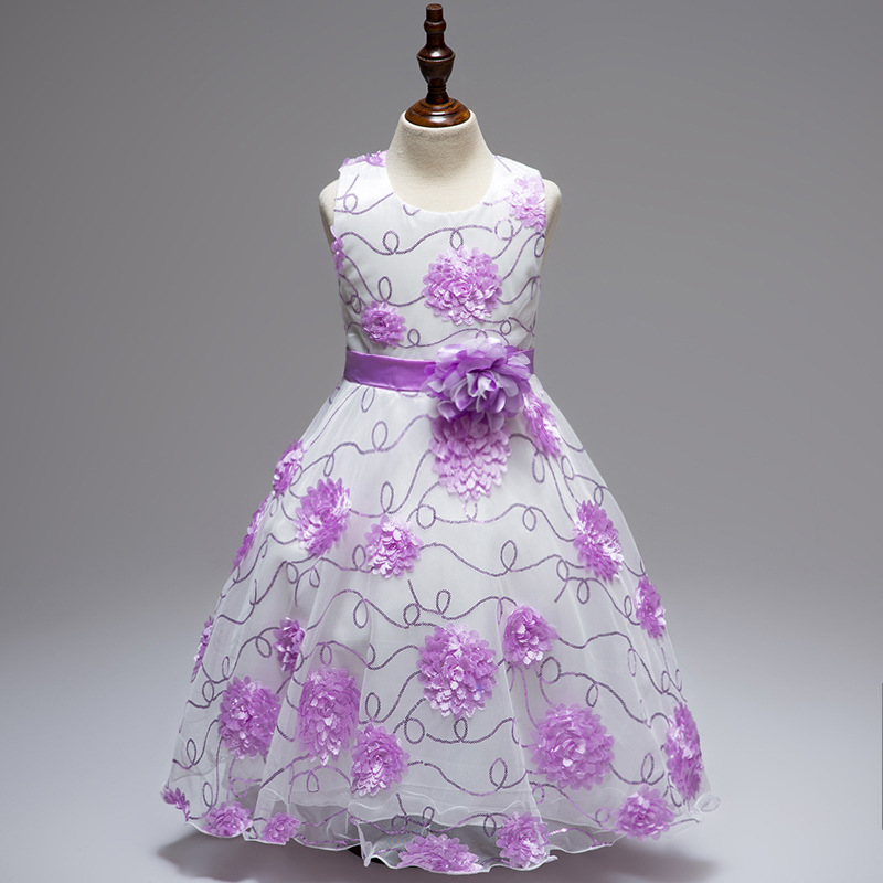 Embroidery & Flower Decorated Princess Dress