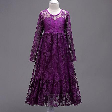 Lace Applique Back Bowknot Long Princess Dress