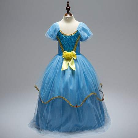 Flower & Bowknot Decorated Sequin Princess Dress