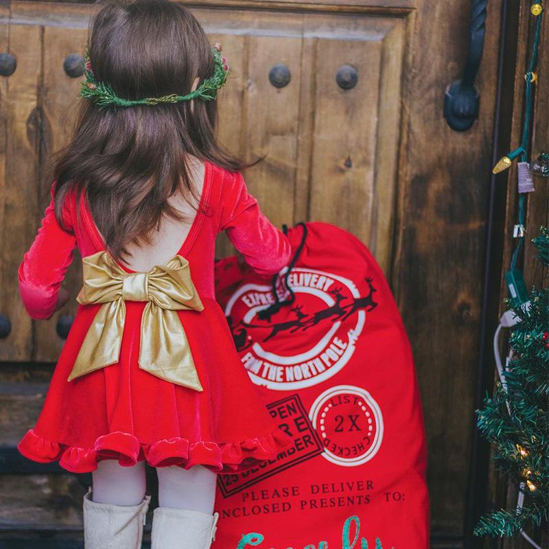 Pleuche Ruffle Hem Backless Bowknot Ornament Dress
