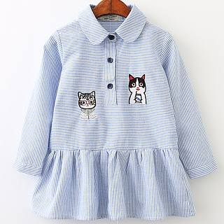 Turn-Down Collar Kitty Pattern Dress