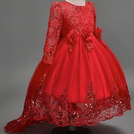 Asymmetrical Lace Long Sleeve Flower Decoration Zipper Back Princesse Dress