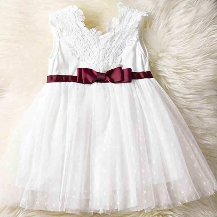Graceful Floral Lace Bowknot Tulle Baby Princess Dress