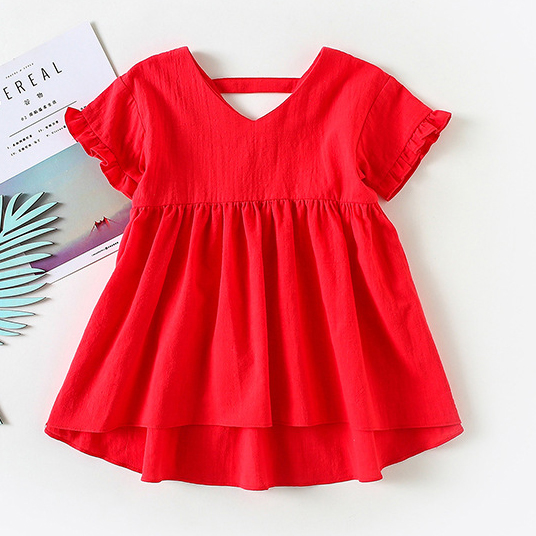 Short Sleevess Solid Color Ruffle Hem Dress