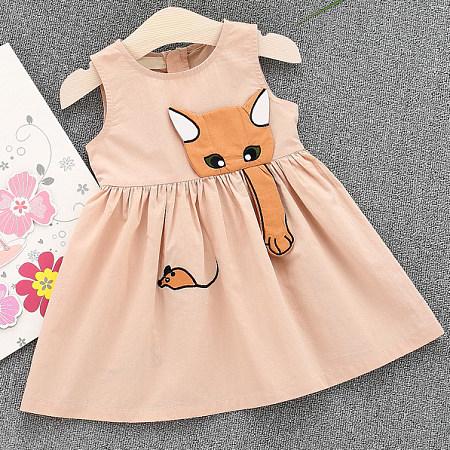 Cat Pattern Round Neck Sleeveless Ruffle Hem Dress