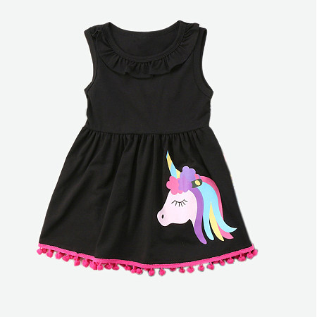 Unicorn Print Tassel Sleeveless Dress