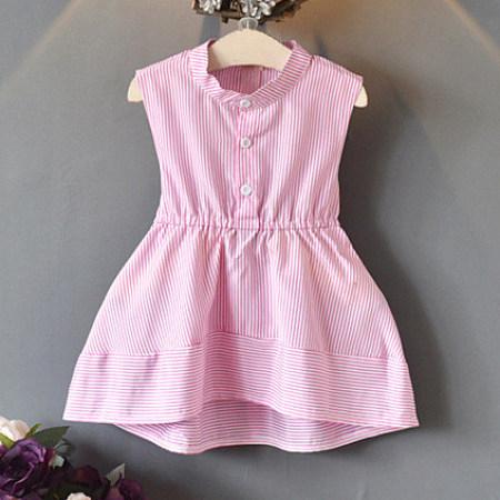 Bowknot Stripe Sleeveless Ruffle Hem Dress