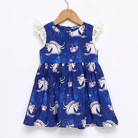 Unicorn Print  Round Neck Button Back Ruffle Hem Dress