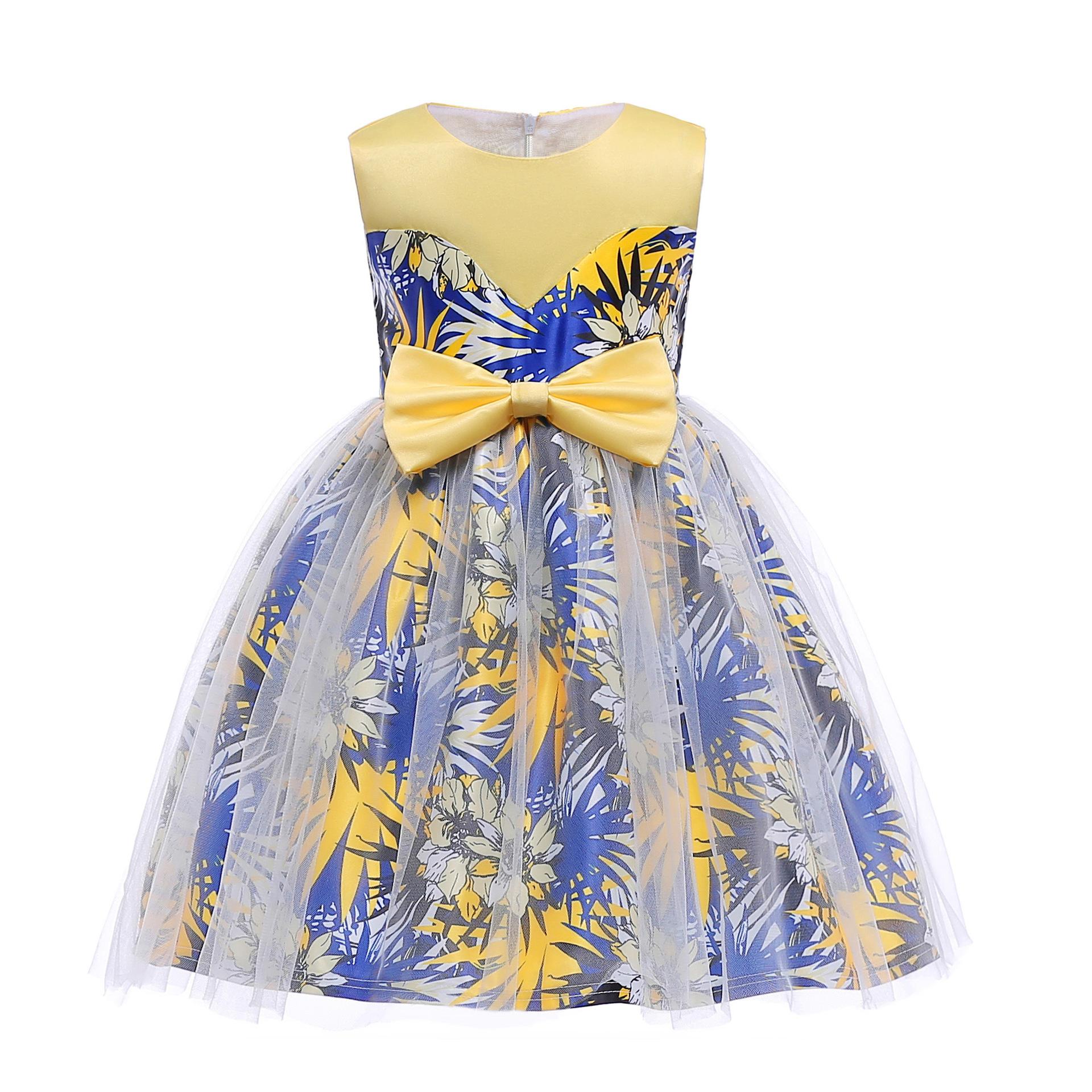 Botanical Print Bowknot Decorated Sleeveless Dress