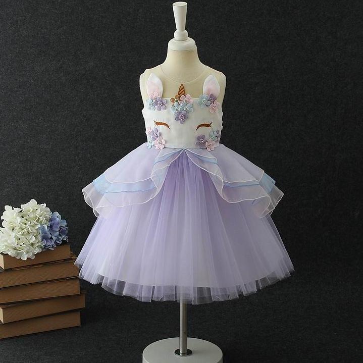 Flower Decorated Sleeveless Zipper Back Tulle Princess Dress