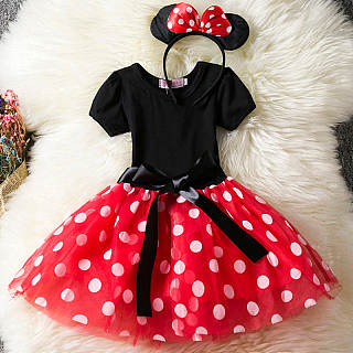 Polka Dots  Round Neck Short Sleeve  Tulle Dress