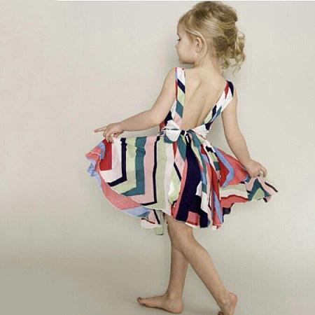 Colorful Stripe Self Tie Sleeveless Backless Dress