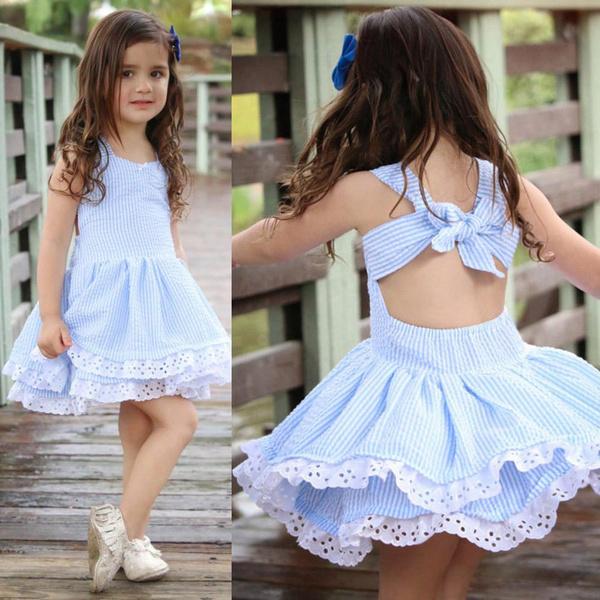 Bowknot Backless Sleeveless Tiered Dress
