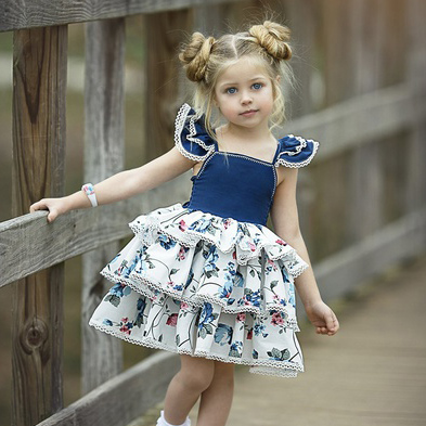 Flower Print Fly Sleeves Tiered Dress