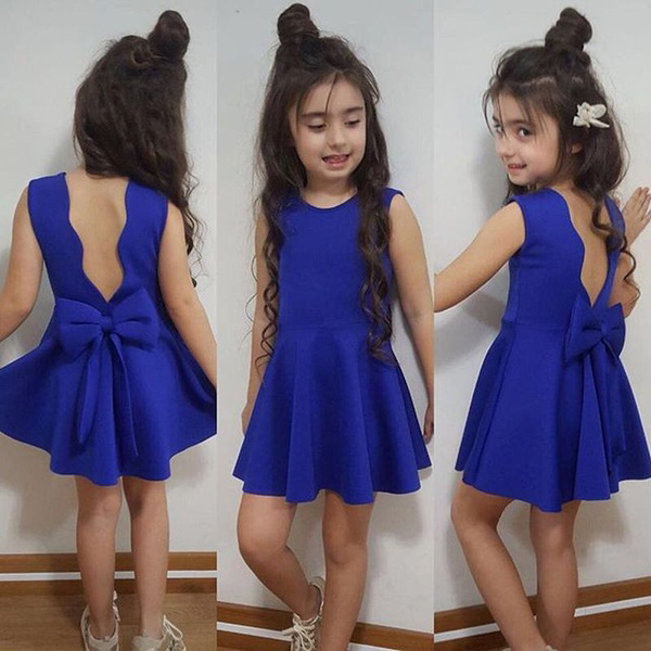 Bowknot Decorated Solid Color Sleeveless Dress