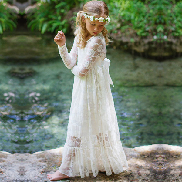 Lace White Tulle Long Sleeves Floor Length Dress