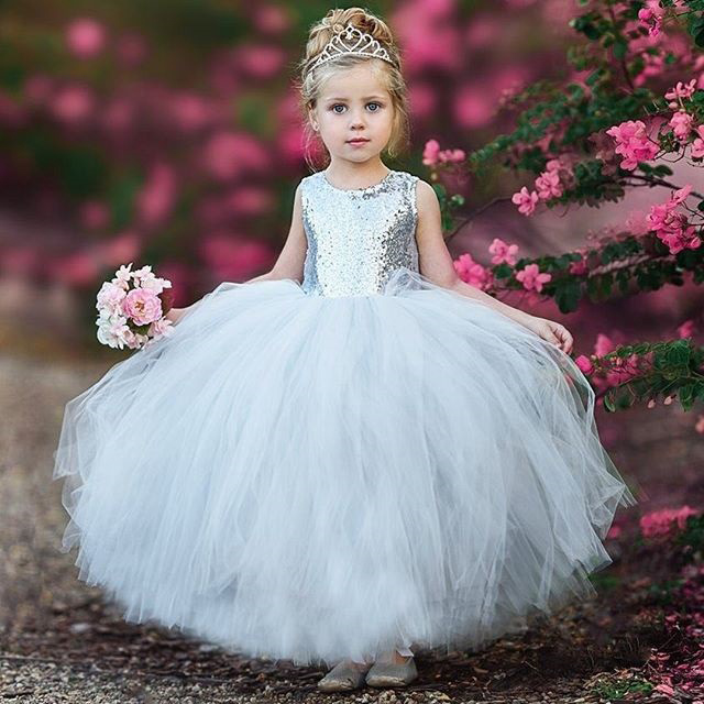 Sequins Backless Self Tie Tulle Princess Dress
