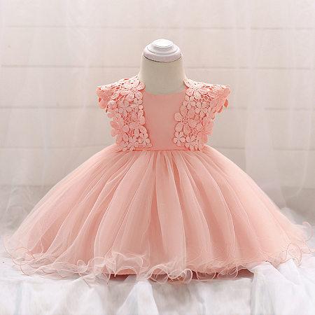 Lace Applique Bowknot Back Solid Color Tulle  Princess Dress