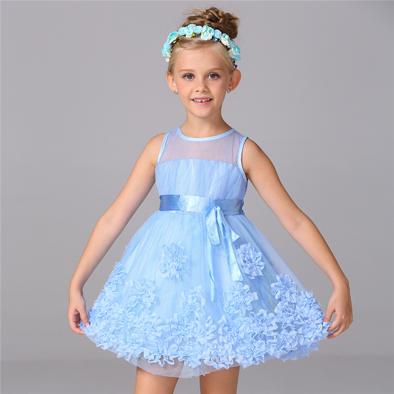 Flower Decorated Solid Color Self Tie Tulle Princess Dress