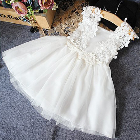 Solid White Lace Appliquetulle Dress