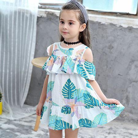 Leaf Print Cold Shoulder  Falbala Dress