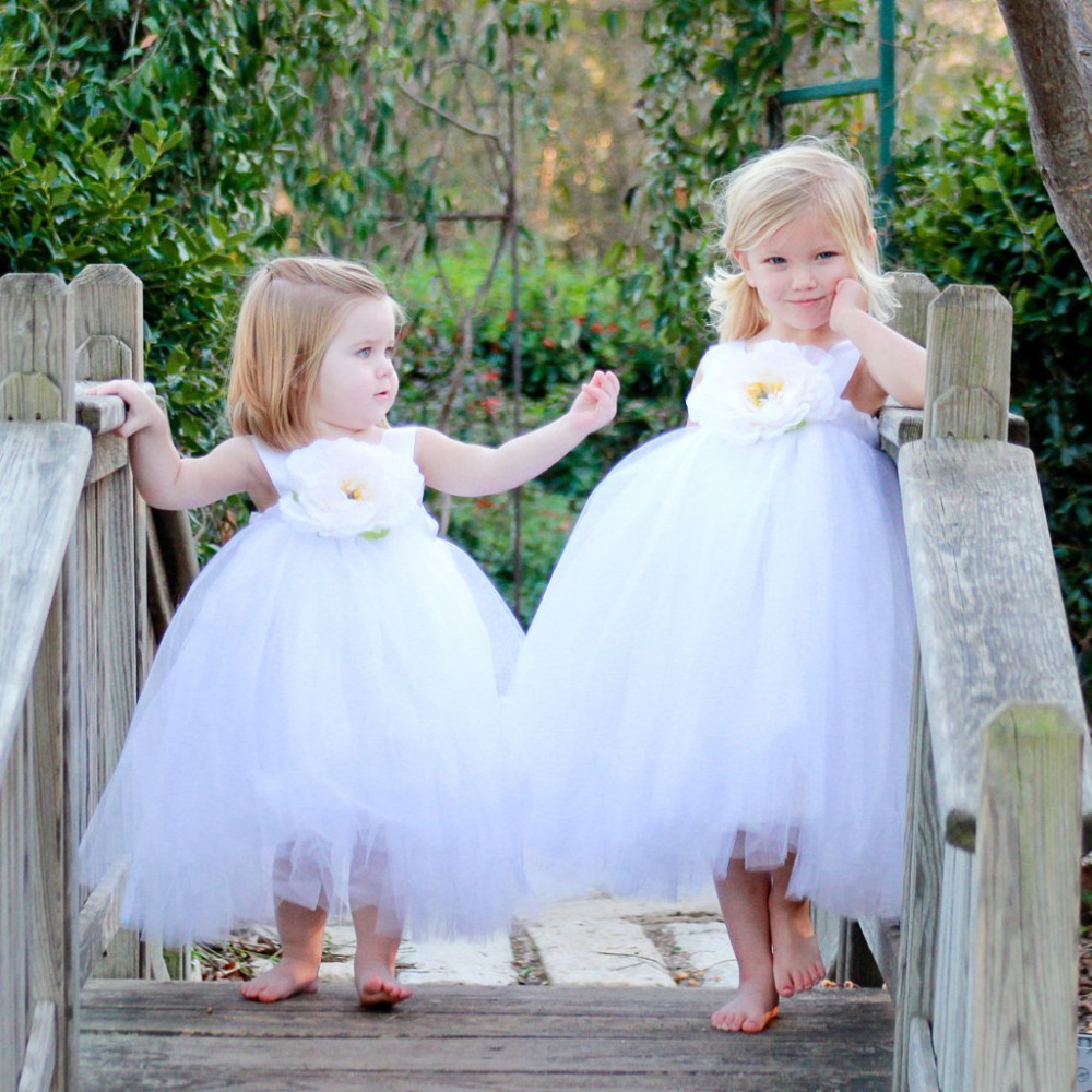 Flower Decorated Bowknot Tulle Princess Dress