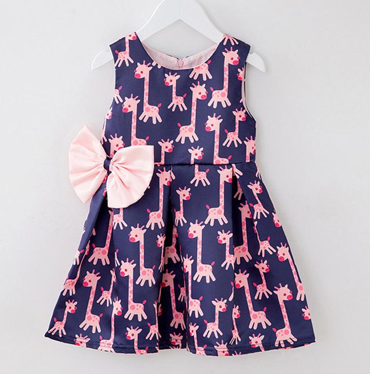 Giraffe Print Bowknot Decorated Dress