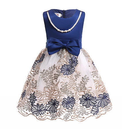 Bowknot Decorated Beads Flower  Embroidered Princess Dress
