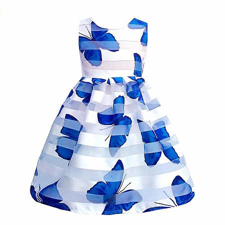 Butterfly Print Zipper Back Dress, blue, DR18051705