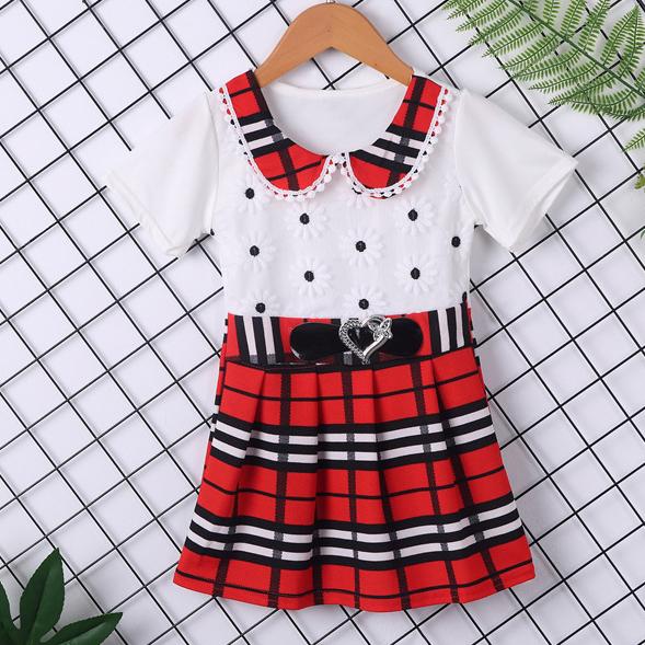 Plaid Doll Collar Short Sleeve Dress