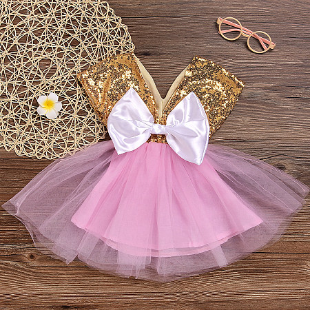 Bowknot  Decorated Sequin Tulle Dress