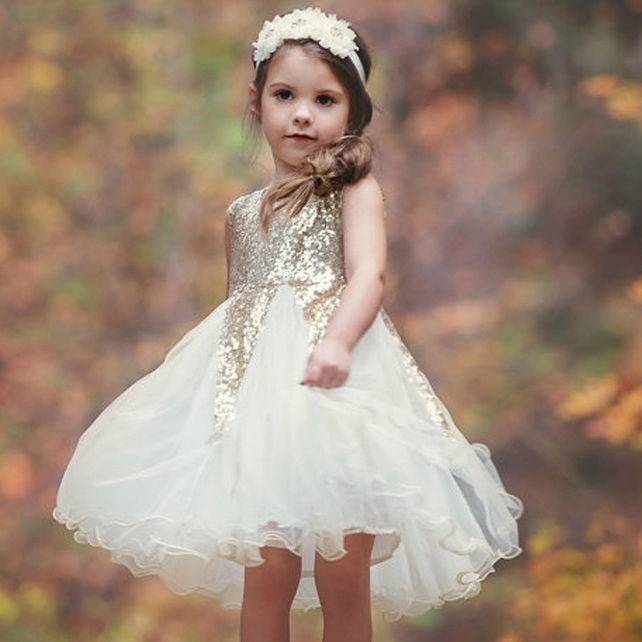 Tulle Sequin Tiered Princess Dress