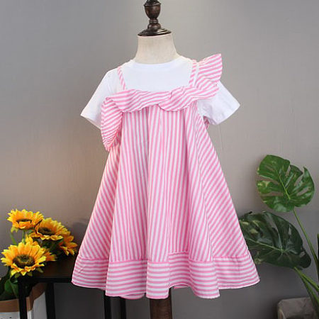 Stripe  Asymmetrical Short Sleeve Fake Two-Piece Dress