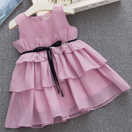 Solid Color Ruffle  Tiered Dress